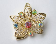 Beautiful vintage glamorous filigree flower brooch with sparkly rhinestones, vintage jewellery, for her, floral motif, mother's day -    Edit Listing  - Etsy