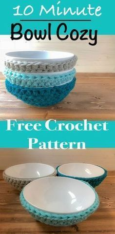 Crochet Pattern For Beginners Quick easy crochet bowl cozy free pattern. Most used crochet item in our house! Crochet Bowl, Crochet Geek, Crochet Gifts, Diy Crochet, Crochet Ideas, Crochet Wreath, Simple Crochet, Beginner Crochet Projects, Crochet Patterns For Beginners