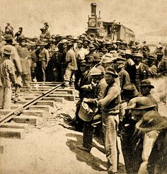 I was part of the 8 man Chinese crew that laid down the last tracks of the Transcontinental Railroad! They let us do this as a tribute to the many Chinese that helped during the entire process. History Photos, Us History, Canadian History, American History, Giraffe Neck, Old West Photos, Pioneer Life, Union Pacific Railroad, Hell On Wheels
