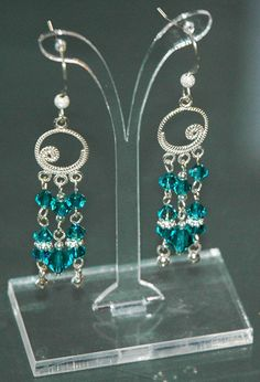 Blue Zircon Earrings Swarovski Earrings Drop by KwaiJewellery