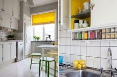 cocina: muebles blancos, cortina amarilla, tarros especias