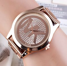 Fashion Top Brand Luxury Ladies Watch Steel Women Dress Watches 2015 Fashion women wristwatch Watch Gold Color Mens Watches