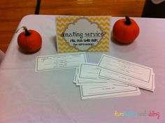 Fantastic Service Auction idea with all the printables.