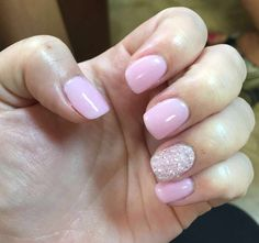 Pink and sparkly white SNS nails