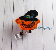 Pumpkin Witch Feltie Retractable Badge Reel, Halloween badge reel, retractable badge holder, badge clip, badge pull - pinned by pin4etsy.com