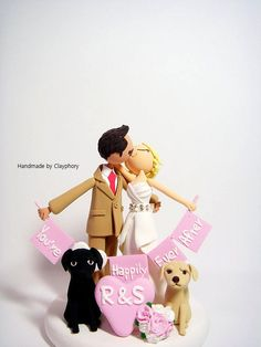 Customized Wedding Cake Topper With Dogs By Clayphory 160 00