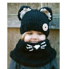 48a022da143 Black cat ear knit hat and scarf set for kids winter wear Scarf Hat