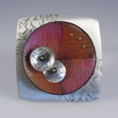 square reds by Deb Karash Enamel Jewelry, Copper Jewelry, Jewelry Art, Jewelry Design, Jewelry Ideas, Jewlery, Pencil Design, Mixed Media Jewelry, Wood Ornaments