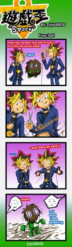 AWWW! Poor little guy! Yami! Yugi! Why would you do this?! D,:  Yu-Gi-Oh!  YGO Spoof: Fuzz by jojo56830.deviantart.com on @deviantART