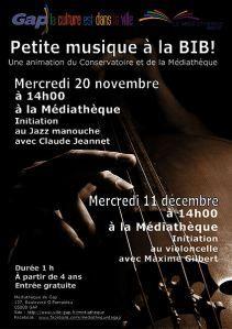 GAP - 11 décembre - 14h à 15h – Petite musique à la Bib – Médiathèque – Entrée libre, gratuit, à partir de 4 ans