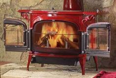 Encore - clean burning wood stove by Vermont Castings. Available with matching finish stove pipe.