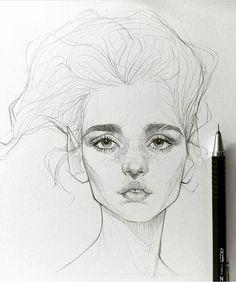 "7,263 Likes, 19 Comments - ArteVM (@artevm) on Instagram: ""Amazing Art by @maloart Follow us on @artevm #sketch #drawing #portrait #art #artist…"" Beautiful Tumblr, Girl Sketch, Pencil, Sketches, Drawings, Face, Ideas, Croquis, Drawing Pics"
