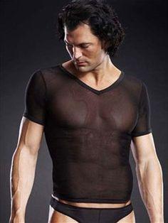 Sexy heren t-shirt  Doorzichtige V-nek t-shirt van microgaas materiaal dat enorm mee rekt.