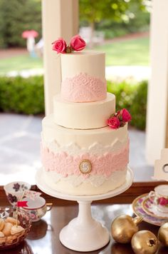 Southern weddings - pink lace cake