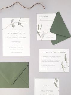 amy zhang imaginative on weddinglovely olive branch wedding invitations semi-custom marriage ceremony stationery italy wedding ideas Minimalist Wedding Invitations, Laser Cut Wedding Invitations, Wedding Stationary, Wedding Invitation Cards, Wedding Invitation Design Ideas, Invites, Graphic Design Invitation, Minimalist Invitation, Creative Wedding Invitations