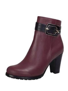 8e7ceb3c2205 Boots I LOVE! Love this Color! Wine Red Buckle Zipper Detail Short Boots