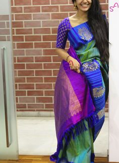 Saree for the modern women of today.This one is for sharing Latest Elegant Designer Indian Saree, Latest Elegant Indian Sari or Elegant Design Saree Click the link to see more . Indian Dresses, Indian Outfits, Indian Clothes, Indische Sarees, South Indian Sarees, Ethnic Sarees, Modern Saree, Kanchipuram Saree, Soft Silk Sarees