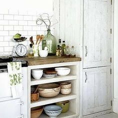 open shelving, so much easier than having cabinets!