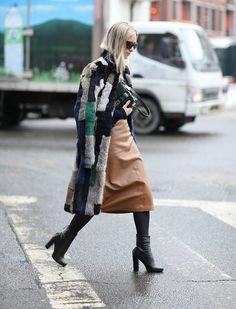 The Fashion Guitar | Patchwork Coat & leather skirt | Fashiolista.com