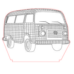 Volkswagen old van 3d illusion vector file for CNC - 3bee-studio