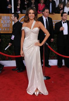 Sofia Vergara arrives at the 19th Annual Screen Actors Guild Awards at the Shrine Auditorium in Los Angeles on Jan. 27, 2013.