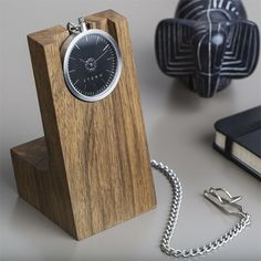 Itero Pocket Watch and Walnut Wood Stand. A beautiful way to display/use your pocket watch more regularly. Mode Masculine, Breitling, Modern Pocket Watch, Cartier, Mens Designer Watches, Watch Holder, Armani Watches, Watch Display, Watch Case