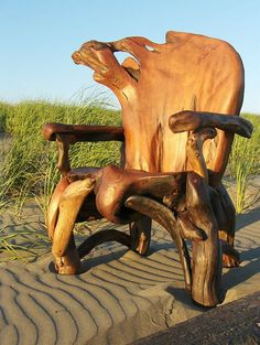 Treibholz Skulptur Stuhl