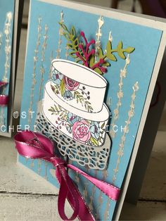 Birthday Cards with Cake Soiree, Silver Embossing Paste, Video Birthday Card tutorial. Occasions 2018 Sneak Peak - Sweet Soiree Collection from Stampin' Up!