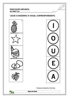 atividades infantis com as vogais Ligue o desenho a vogal