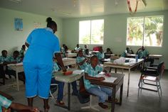 Visit to a local school at the Marron village of Nieuw Aurora upon the Boven-Suriname river Suriname