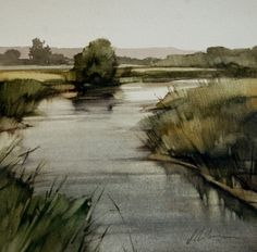 "2011, Silver Bend by Joseph Alleman Watercolor ~ 8"" x 8"""