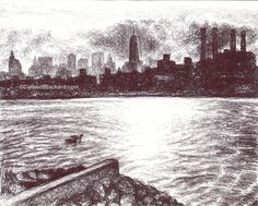 """I Had To Get In Over My Head To Come Back Above The Water, 2013 Ballpoint on paper 5""""x7"""" SOLD Ballpoint Pen Drawing, Small Drawings, Paper, Pen Drawings, Small Paintings"""