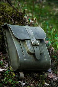 """Leather backpack. Big green/ khaki Leather backpack 15.6"""". Hard and sturdy leather! Find out more on InBagWeTrust.com"""