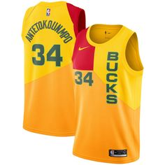 f936c9ea1 Men s Milwaukee Bucks Giannis Antetokounmpo Nike Yellow City Edition  Swingman Jersey