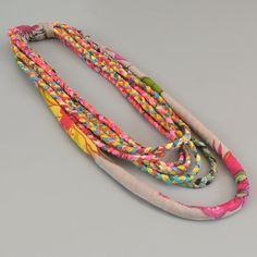 Rainbow Scarf Necklace, Ethnic Hippie Jewelry, layered necklace, Fabric  necklace, Christmas gift