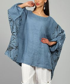 This 100% LIN BLANC Blue Ariell Linen Tunic by 100% LIN BLANC is perfect…