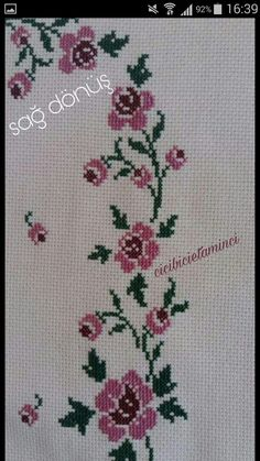 This Pin was discovered by ecr Cross Stitch Rose, Cross Stitch Flowers, Crochet Stitches, Elsa, Diy And Crafts, Embroidery, Wallpaper, Home Decor, Hat Patterns