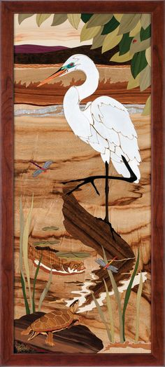 stunning egret artwork done by Hudson River Inlay
