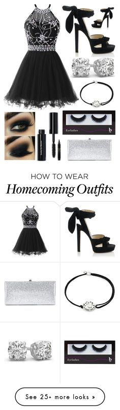 """""""Can't Help It, I'm In Love"""" by pinkstars6 on Polyvore featuring Jimmy Choo, Alex and Ani, Bobbi Brown Cosmetics, BBrowBar, MAC Cosmetics, black, Silver, party, highschool and diamonds"""