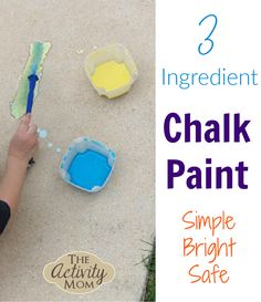 Sidewalk Chalk Paint  Make Your Own  with 3 Ingredients   #sidewalkchalk #chalkpaint #diy #preschool #toddlers #outdooractivities #kidsactivities