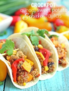 An easy and healthy dinner of Crockpot Quinoa and Sweet Potato Fajitas from Chelsea's Messy Apron