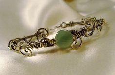 Antiqued Sterling Silver & Aventurine bracelet