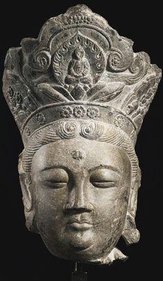 A limestone head of Guanyin, China, Liao dynasty