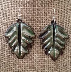 Copper Enamel earrings with sterling silver hook - $21.75 USD