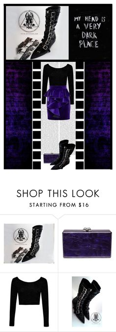 """""""GOTH PIKES (23)"""" by irresistible-livingdeadgirl ❤ liked on Polyvore featuring Oris, Edie Parker, Boohoo, Balmain, emo, goth, gothic, balmain, purple and Dark"""