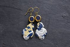 Ornate Light Blue and Silver Vintage Tin Earrings with Regal Scroll Design in Silver, Gold and Dark Blue, Unusual Earrings, Unique Gift