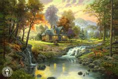 Thomas Kinkade mountain retreat painting is shipped worldwide,including stretched canvas and framed art.This Thomas Kinkade mountain retreat painting is available at custom size. Thomas Kinkade Art, Kinkade Paintings, Oil Paintings, Painting Art, Thomas Kincaid, Art Thomas, Pinturas Disney, Disney Paintings, Beautiful Paintings