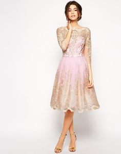 Chi Chi London Premium Metallic Lace Prom Dress with Bardot Neck