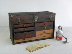 Antique Wooden Tool Chest, Machinist Tool Box via Cathode Blue on Etsy http://www.etsy.com/shop/cathodeblue