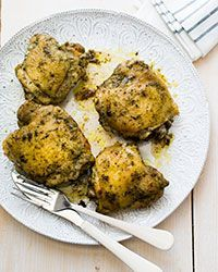 Pesto lends a rich flavor to this easy chicken thigh recipe—perfect for a weeknight dinner.